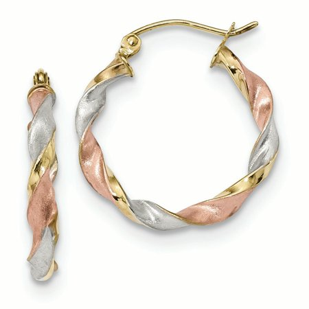 10K Tri Color Gold 2.8 MM Satin Twisted Hoop Earrings (20.87 x 22.65 - Tri Color Gold Plated