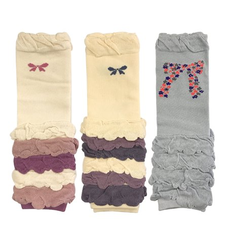 Wrapables® Colorful Baby Leg Warmers Set of 3, Half Ruched and Bows