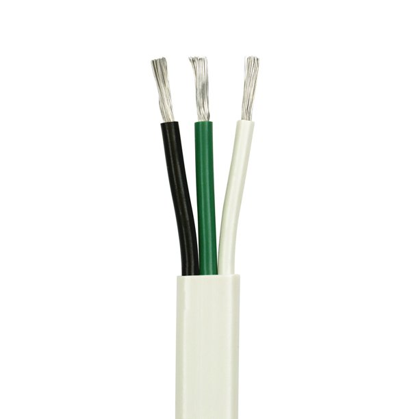 6/3 AWG Triplex Flat AC Marine Wire - Tinned Copper Boat Cable - 25 Feet -  White PVC Jacket, Black/White/Green Conductor - Made in the USA -  Walmart.com - Walmart.comWalmart.com