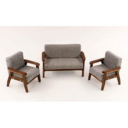 Enjoyable Nanguawu Wood 3Pcs Sofa Chair In Gray Couch Model Set For Machost Co Dining Chair Design Ideas Machostcouk