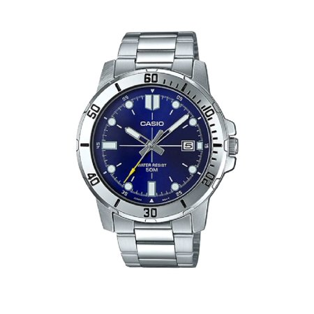 Mens Analog Stainless Steel Band and Case Silver Blue Dial 50-meter Water Resistance Watch MTP-VD01D-2EVUDF