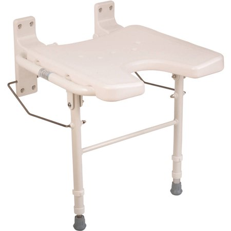 Cool Healthsmart Wall Mount Fold Away Bath Chair Shower Seat Bench With Adjustable Legs Seat 16 X 16 Inches White Machost Co Dining Chair Design Ideas Machostcouk