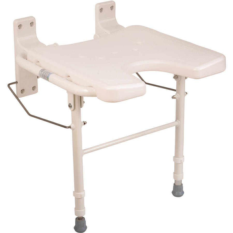 healthsmart wall mount fold away bath chair shower seat bench with adjustable legs white - Bath Chair
