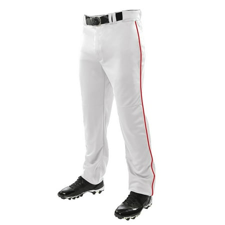 Martin ADULT Baseball Softball Belt Loop White Pants with Single Stripe Piping,