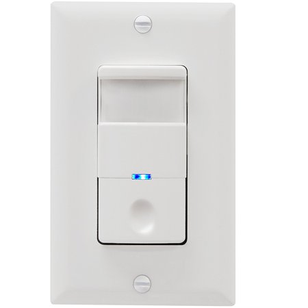 TOPGREENER TDOS5-J Motion-Sensor Light Switch 500W Incand LED CFL 1/8HP Motor, No Neutral Required, White (Neutral Dimmer)