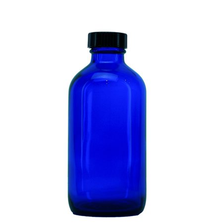 Large Cobalt Blue Glass - 8 oz Boston Round Glass Bottle Cobalt Blue - w/Poly Seal Cone Cap - pack of 4