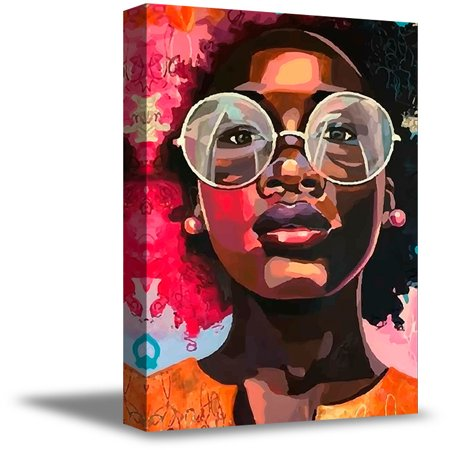 Awkward Styles African Woman in Sunglasses Canvas Decals Gifts for Her Stylish Decor Ideas Framed Canvas Prints for Living Dining Room Wall Decor African Girl Portrait Pop Art Picture Colorful (Wall Decor Ideas For Small Living Room)