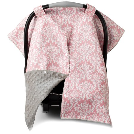 Kids N' Such 2 in 1 Car Seat Canopy Cover with Peekaboo Opening™ - Large Carseat Cover for Infant Carseats - Best for Baby Girls - Use as a Nursing Cover- Damask with Champagne Dot
