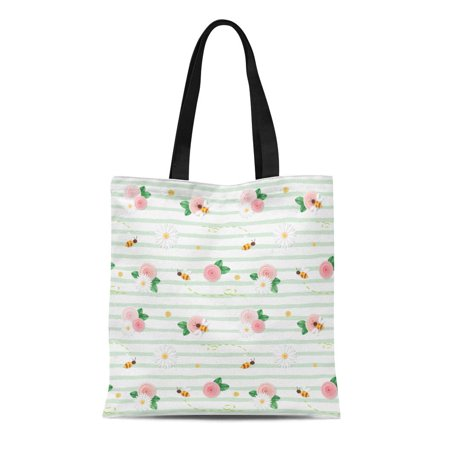 LADDKE Canvas Tote Bag Colorful Summer Floral Pink Roses Chamomiles Flying Bees Reusable Shoulder Grocery Shopping Bags