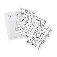 Flash Tattoos Hailey metallic temporary jewelry tattoo mini pack, 3 mini sheets, over 70 black ink temporary tats