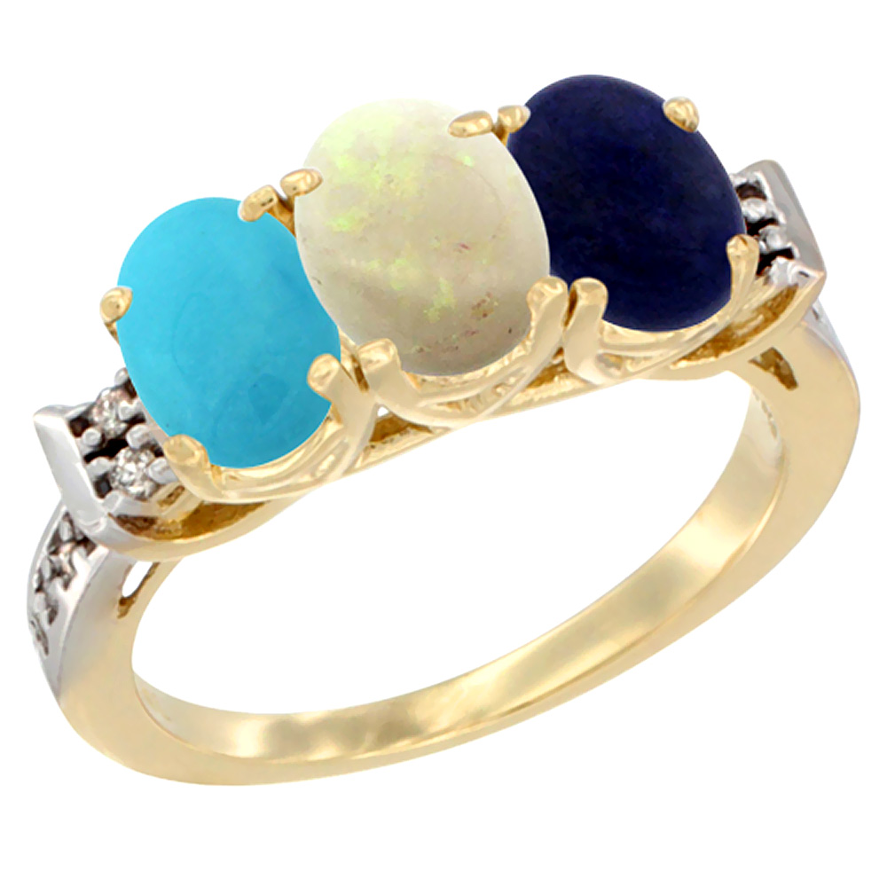 10K Yellow Gold Natural Turquoise, Opal & Lapis Ring 3-Stone Oval 7x5 mm Diamond Accent, sizes 5 10 by WorldJewels