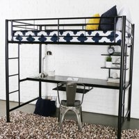 Walker Edison Metal Twin Loft Bed with Workstation - Black