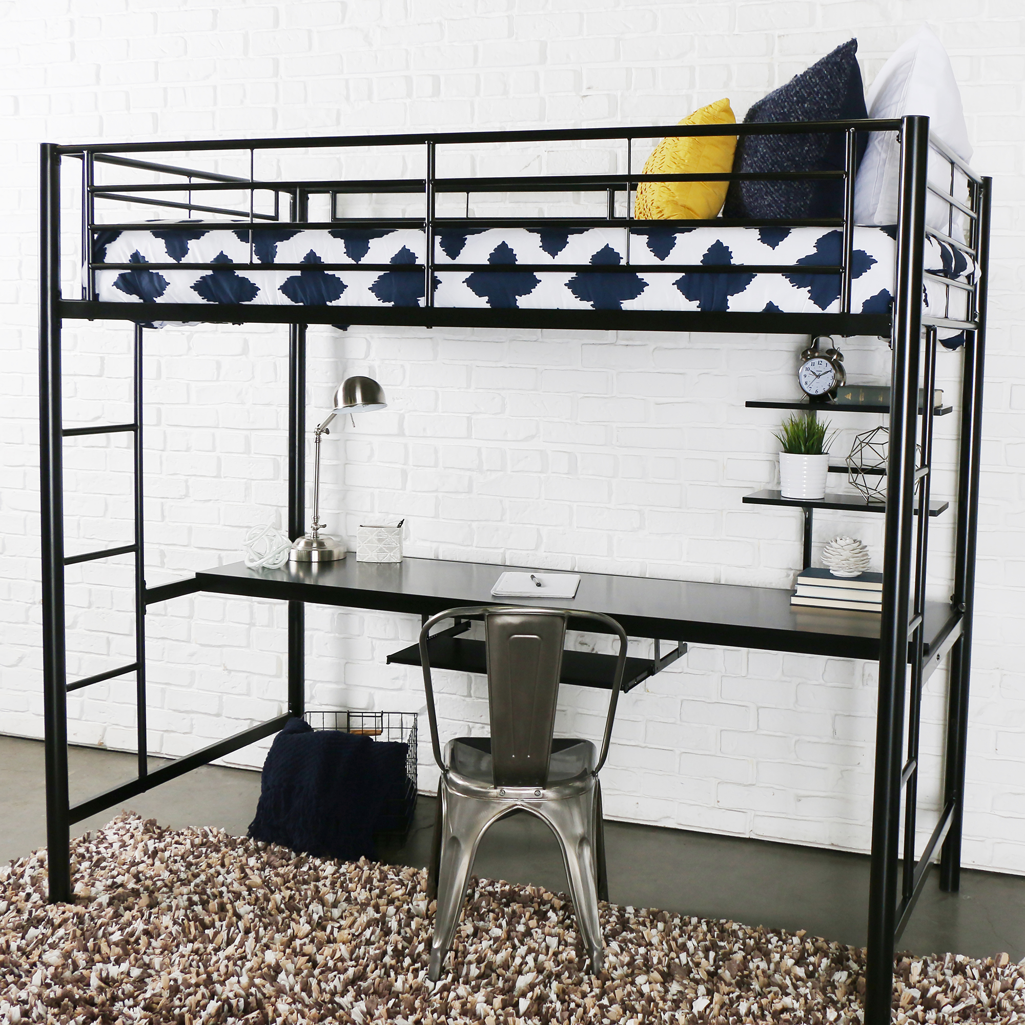 Premium Metal Twin Loft Bed with Workstation, Black