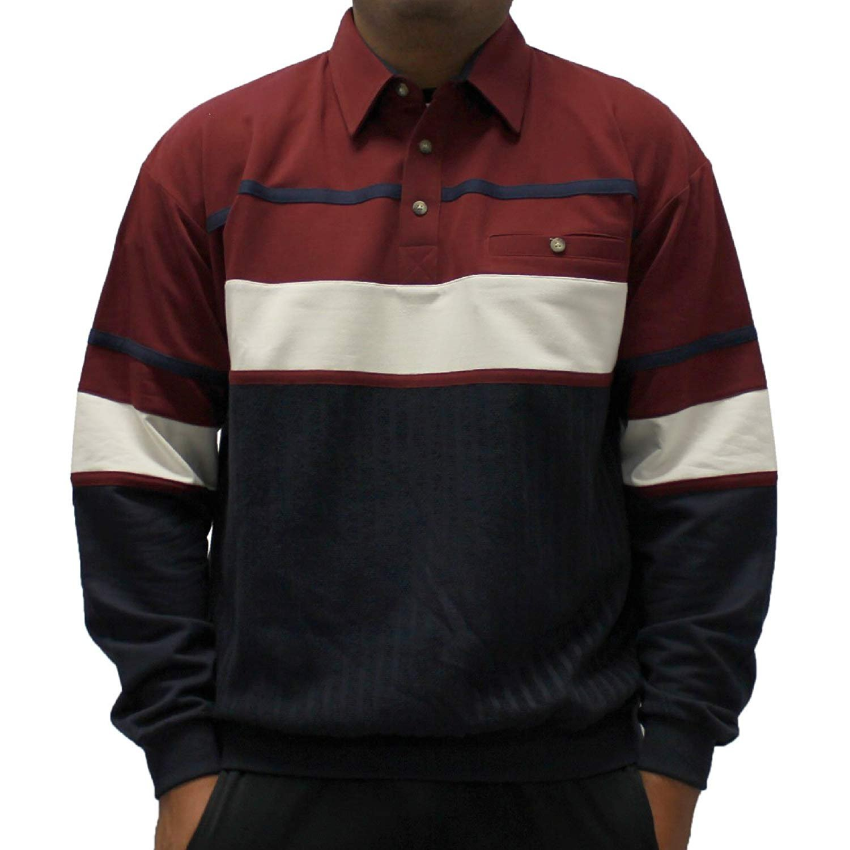 Classics by Palmland Horizontal Stripes Long Sleeve Banded Bottom Shirt (XXLarge, Burgundy)