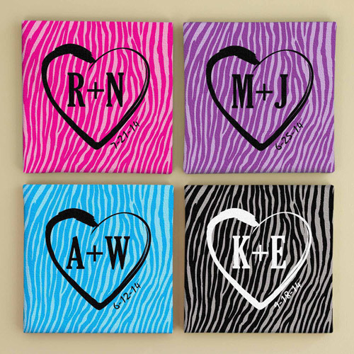 "Personalized 16"" x 16"" Zebra Love Graffiti Canvas, Available in 4 Colors"