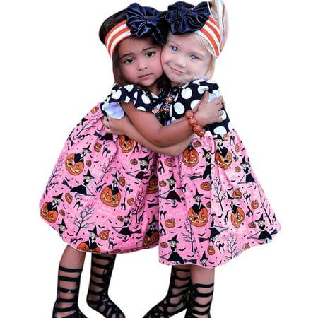 Toddler Kids Baby Girls Halloween Pumpkin Cartoon Princess Dress