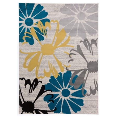 World Rug Gallery Contemporary Modern Large Floral Flowers Area Rug or Runner Cream