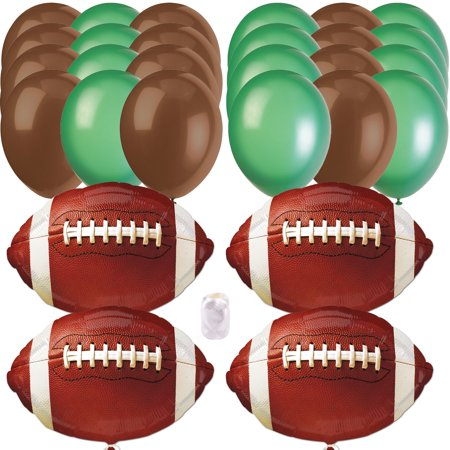 Football Super Bowl Party Bouquet Foil & Latex 28pc Balloon Pack, Brown Green Super Bowl Party Supplies