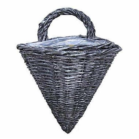 Willow Wired Lined Wall Basket - Grey Wash, Set of 2 ()