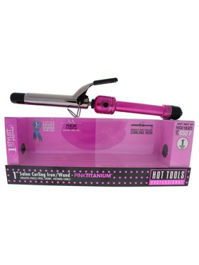 Hot Tools Pink Titanium Salon Curling Iron/Wand - Model # HPK44 - Pink/Silver - 1 Inch Curling Iron