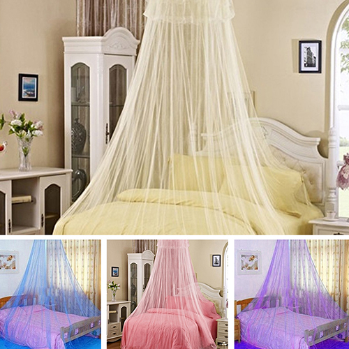 Obstce Elegant Lace Insect Bed Canopy Netting Curtain Round Dome Mosquito Net Bedding