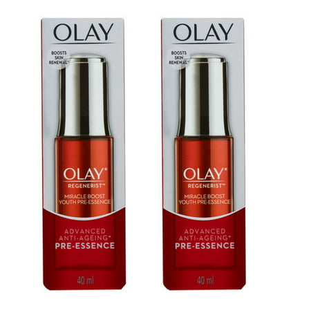 Olay Regenerist Miracle Boost Youth Pre-Essence, 40ml (1.35 Oz) (Pack of 2) + Makeup Blender Stick, 12 (40ml Stick)