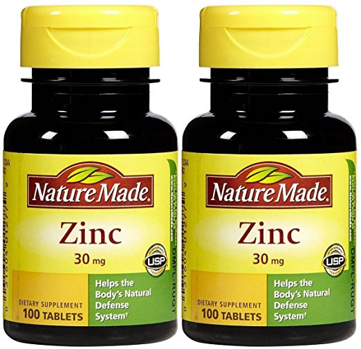 Nature Made Zinc 30 mg 100 Tablets (Pack of 2)