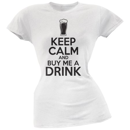 St. Patricks Day - Keep Calm Buy Me A Drink White Soft Juniors T-Shirt