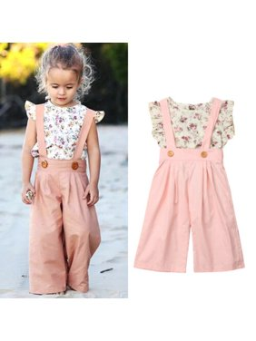 Toddler Infant Kids Baby Girl Floral Tops+Bib Pants Overalls Outfits Sunsuit