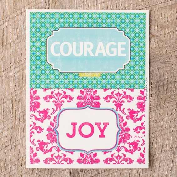 Dayspring Cards 72681 Removable Stickers-Joy & Courage-Damask