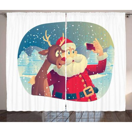 Santa Curtains 2 Panels Set, Best Friends Taking a Funny Christmas Selfie with Cellphone in a Snowy Winter Forest, Window Drapes for Living Room Bedroom, 108W X 84L Inches, Multicolor, by