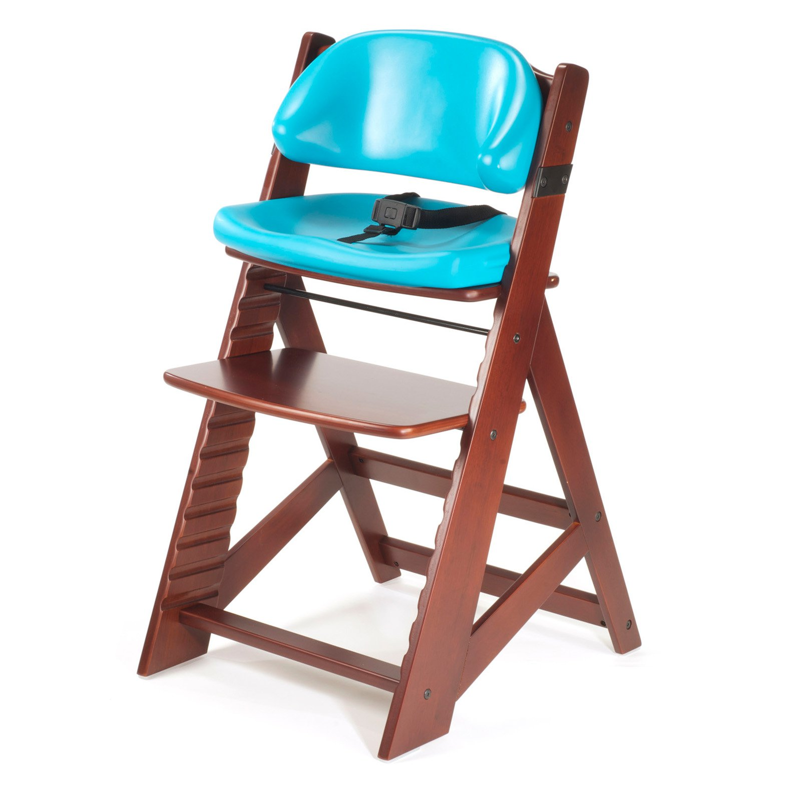 Keekaroo Height Right Kids Chair Mahogany with Aqua Comfort Cushions