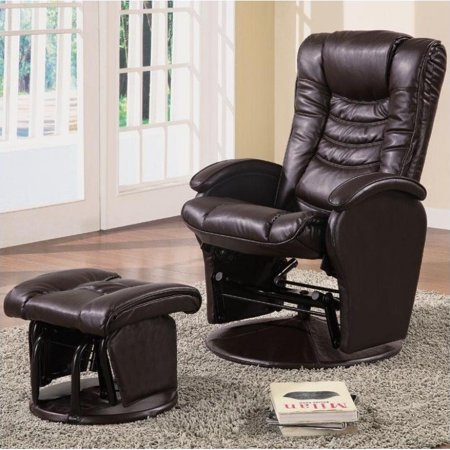 Amazing Bowery Hill Faux Leather Glider Recliner Chair With Ottoman In Brown Beatyapartments Chair Design Images Beatyapartmentscom