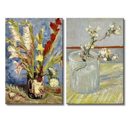 wall26 - Sprig of Flowering Almond in a Glass/Vase with Gladioli and China Asters by Vincent Van Gogh - Oil Painting Reproduction in Set of 2-16