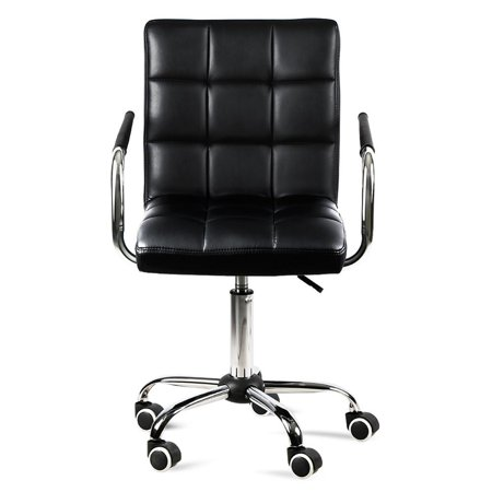 Topeakmart Modern Faux Leather Home Office Chair Swivel Computer Desk Chair on Wheels Black (Swivel Desk Chair Leather)
