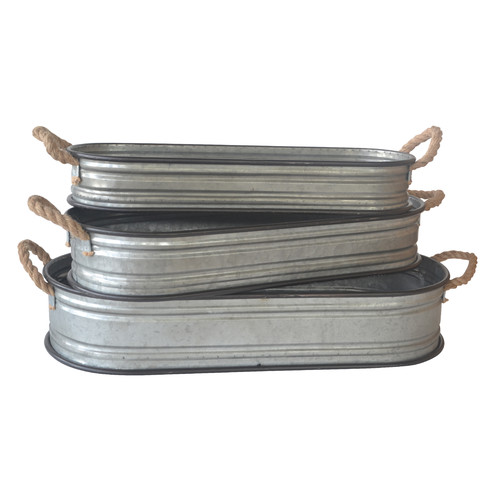 Cheungs Home Decorative Long Galvanized Oval Storage Containers with Side Rope Handles - Set of 3