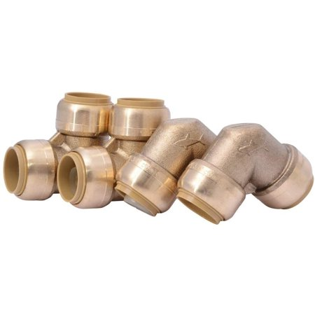 U248LFA4 90 Degree Elbow Plumbing Pipe Connecto 1 In, PEX Fittings, Push-to-Connect, Copper, CPVC, 1/2 inch, Brass -  Teeblox