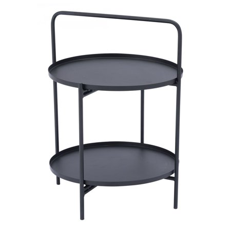 Industrial Country Farm House Sofa Accent Side End Table Console, Black, Steel Metal