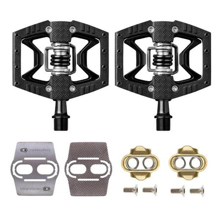 Crankbrothers Double Shot 3 Bike Pedals (Black) with Cleats and Shoe Shields Set ()