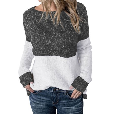 Starvnc Women Long Sleeve Round Neck Color Block Casual Pullover Tops