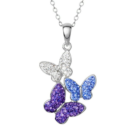 Sterling Silver Butterfly Pendant (Sterling Silver Crystal Butterfly Pendant 18