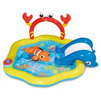 Summer Waves 6.4ft x 34in Inflatable Under the Sea Kiddie Swimming Pool w/ Slide