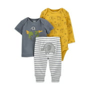 Child of Mine by Carter's Baby Boy Outfit Long Sleeve Bodysuit, T-shirt & Pants, 3-Piece Set
