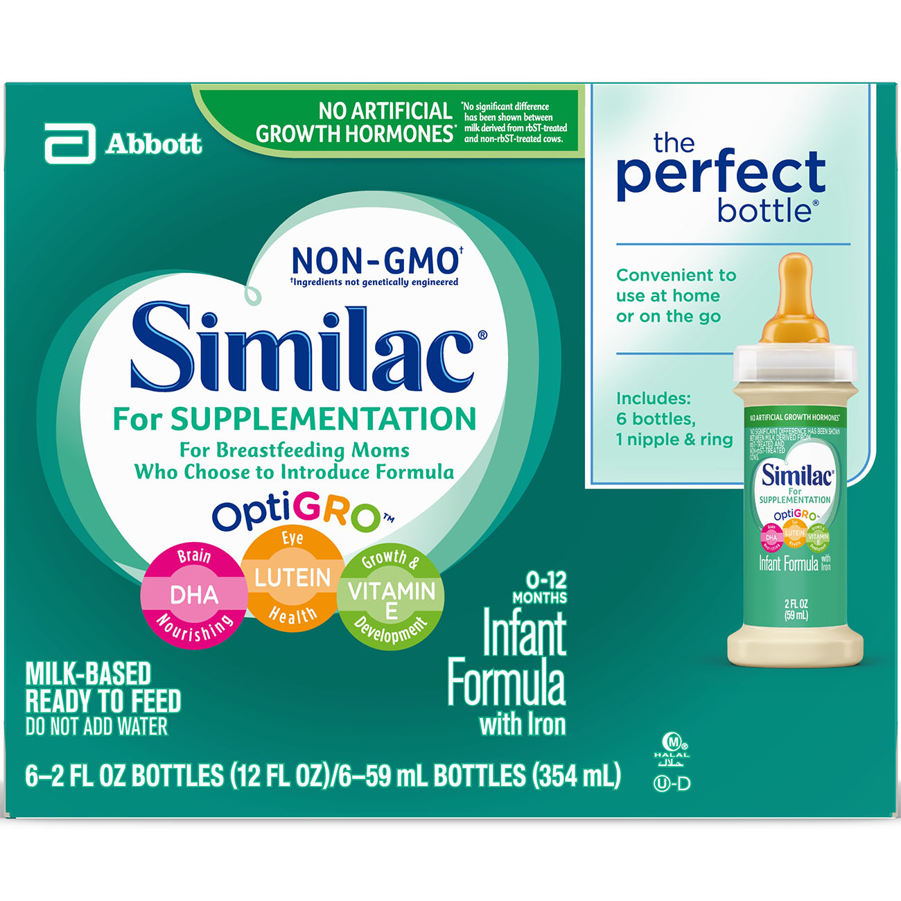 Similac for Supplementation Non-GMO Infant Formula with Iron Baby Formula 2 oz Bottle (Pack of 48) by Similac