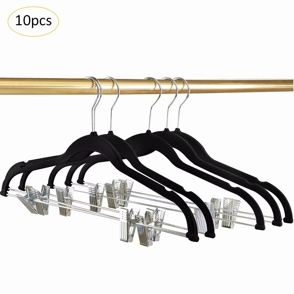 10-Pack Coat/Clothes Hanger Non-Slip Soft Matte Pant Hangers with Pile Coating and 2-Adjustable Clips,Black