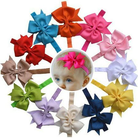 Fascigirl 12PCS Colorful Baby Girls Grosgrain Ribbon Big Bows Fashion Cute Headbands Hair Bands Headbands Hair Accessories Photo Props for Baby Toddler Infants Newborn Kids Child Girls