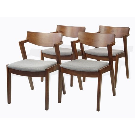 SK New Interiors Tracy Dining Kitchen Modern Armchairs Set of 4 Solid Wood Medium Brown Finish
