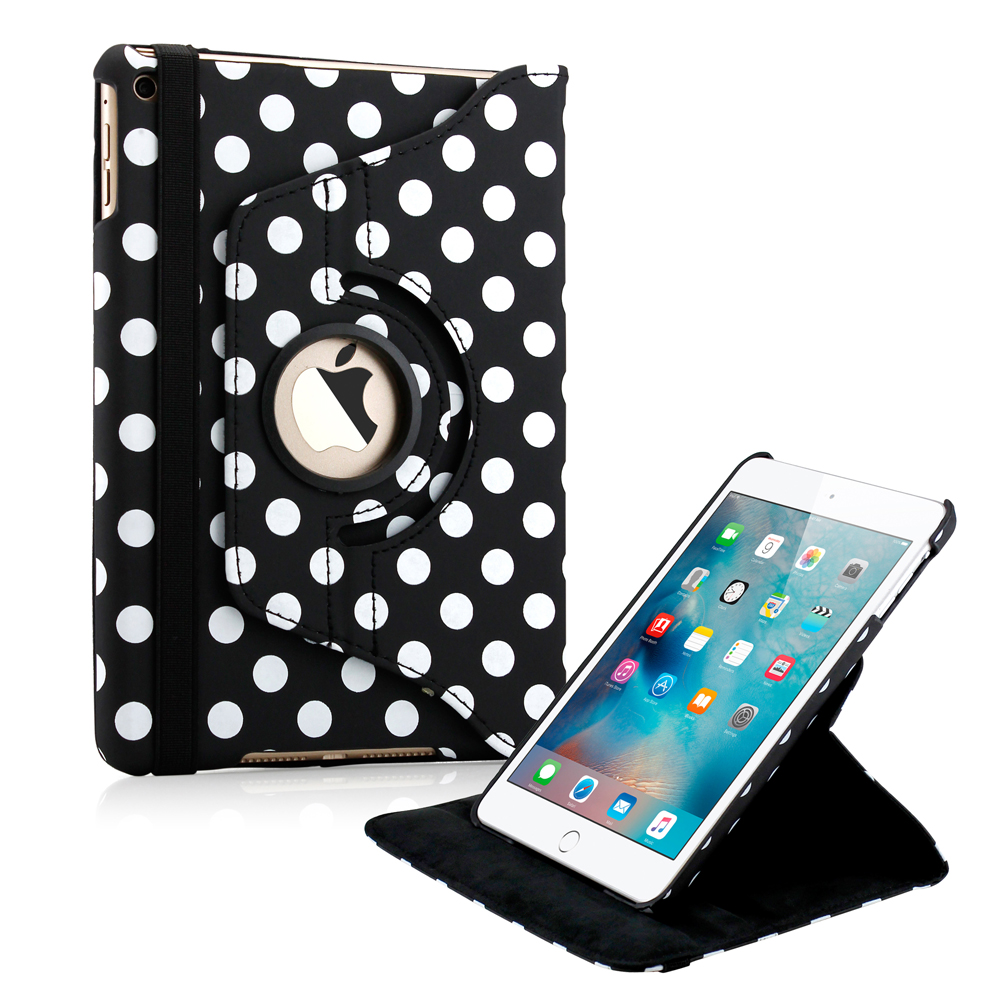 360 Degree Rotating PU Leather Cover Smart Case Swivel Stand for Apple iPad Mini 4 - Black Polka Dot