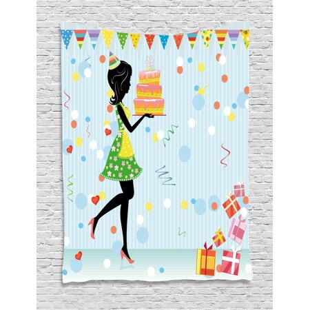 Birthday Decorations Tapestry, Young Mother Carrying Delicious Cake Presents Dots Flags Cartoon Style, Wall Hanging for Bedroom Living Room Dorm Decor, 40W X 60L Inches, Multicolor, by