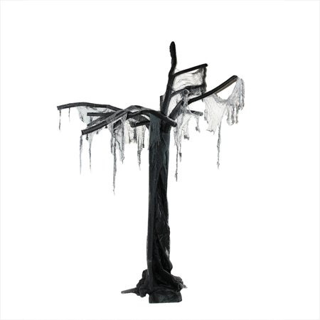7.5' Black and Gray Spooky Ghost Tree Standing Halloween Decoration